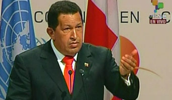 Venezuelan President Hugo Chavez speaking to the Climate Change Summit in Copenhagen (Telesur)