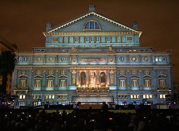 The Colón theatre in Buenos Aires during the celebrations (agencies)