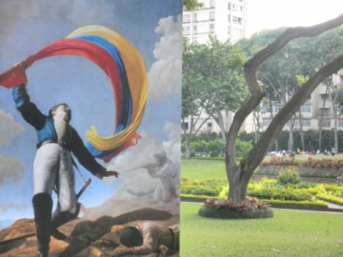 19th Century painting in a park in Altamira, a wealthy suburb of Caracas