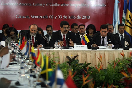 Venezuelan Foreign Minister Nicolas Maduro during Saturday's summit (MPPRE)