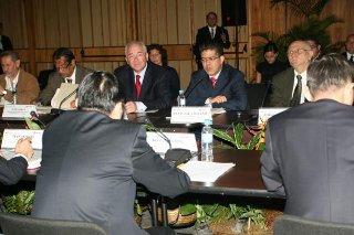 Venezuelan Vice President Elias Jaua (center, at microphone) during China-Venezuelan summit last Thursday. (YVKE)
