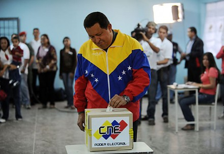 President Hugo Chavez voting today (agencies).