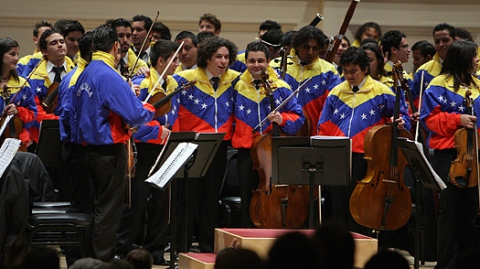 Simon Bolivar Youth Orchestra with their acclaimed conductor, Gustavo Dudamel