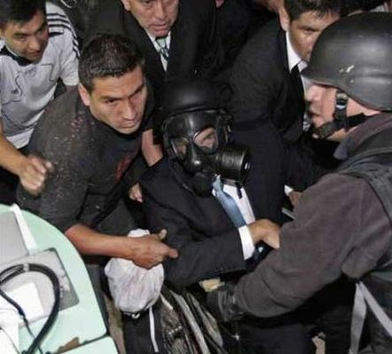 Ecuadorian President Rafael Correo (center) during attempted coup d'état, September 30, 2010. (YVKE)