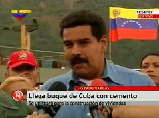 Foreign minister Nicolas Maduro making the announcement of the Cuban shipment on national television (VTV)
