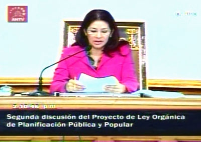 President of the National Assembly Celia Flores commenting on the Law of Public and Popular Planning (ANTV)
