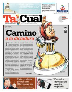 The cover of newspaper Tal Cual
