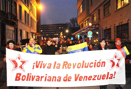 Belgian activists march in commemoration of the Bolivarian Revolution (MPPRE)