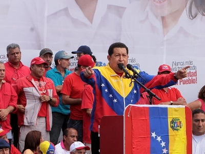 President Chavez during the ceremony yesterday in honour of the Caracazo victims