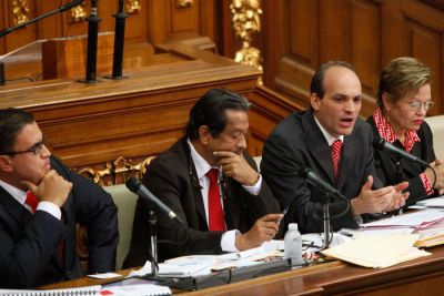 Venezuela's Minister for Science, Technology and Intermediate Industry, Ricardo Menendez, presenting his annual report to the National Assembly on 22 February 2011 (Telesur).