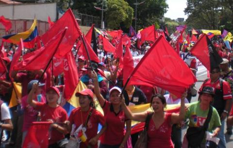 Women march in Caracas for International Women's Day (UDW).