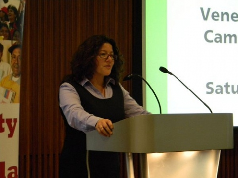 UNITE Assistant General Secretary & Venezuela Solidarity Campaign Chair Jennie Bremner during a report back on Venezuela's 2010 National Assembly Elections (VSC).
