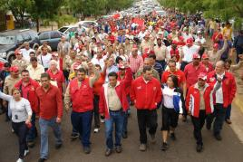 Workers and other sectors of society take part in a march in defence of aliminium company Bauxilum (AVN).