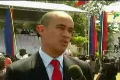 "Hector Rodriguez, Vice-president of the ""Social Area Council of Venezuela"", confirms Venezuela will continue working for ""dignity"" of Haitian people in television interview following inauguration of Haiti's new president, Michel Martelly. (TeleSur)"