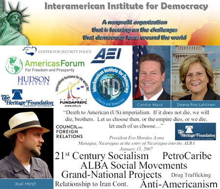 In this announcement, the Interamerican Institute for Democracy promotes their anti-ALBA message (Image: LAHT.com)