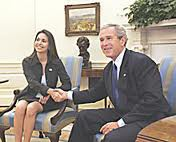 María Corina Machado, founder of Sumate, a US-funded opposition organization meeting with former U.S. President George W. Bush in Washington in 2005 (ElUniversal)