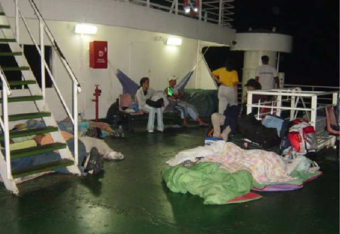 There was a lack of seating on the ferries (agencies).