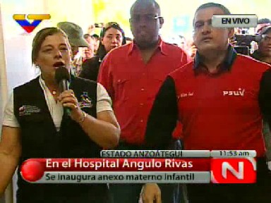 Venezuelan Health Minister, Eugenia Sader, inaugurates the new maternity and paediatric department at the Angulo Rivas hospital (VTV).