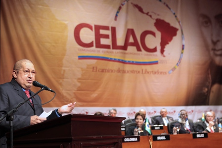 Venezuelan President Hugo Chavez speaks at the opening of CELAC (RNV)