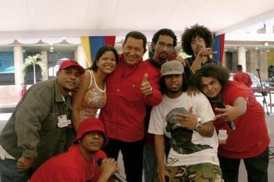 Members of the Hip Hop Revolution Collective meeting Venezuelan President Hugo Chavez, March 2008 (Alo Presidente).