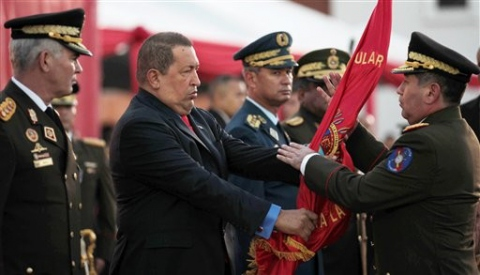 Venezuelan President Hugo Chavez (left) with General Henry Rangal Silva, who was sworn in as Venezuelan Minister of Defence this week. (AP)