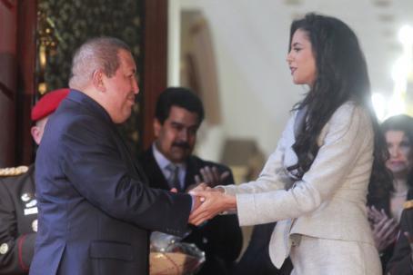 "Venezuelan President Hugo Chavez met with ""Miss World"", Venezuelan Ivian Sarcos last week (AVN)"