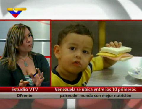 """Venezuela is placed in the top ten countries in the world for nutrition"" says the caption in this VTV talk show discussing the issue recently (VTV)."