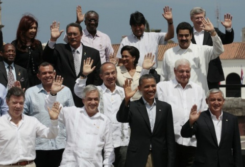Several Latin American and Caribbean presidents were absent from the VI Summit of the Americas official photo, held in Cartegena, Colombia 14 – 16 April (Cuba Debate).