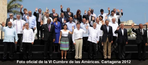 The official photo of the heads of state at the Summit of the Americas was left with some conspicuous absences (VTV).