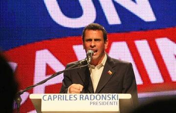 Capriles Radonski speaking yesterday (agencies)