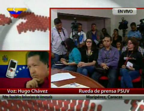 President Hugo Chávez speaking on public television yesterday via telephone (VTV).