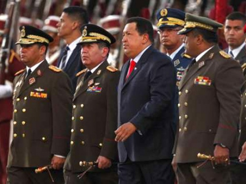 Venezuela President Hugo Chavez at a ceremony marking the 75th anniversary of Venezuela's National Guard last Friday (patriagrande)