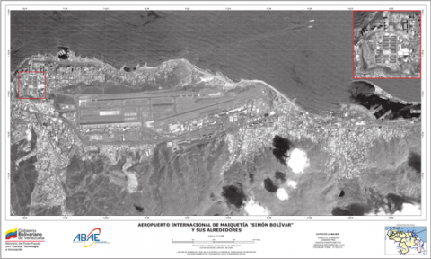 An image taken by Venezuela's Miranda satellite of the international airport of Maiquetia, Caracas (Ministry of Science, TEchnology and Innovation).
