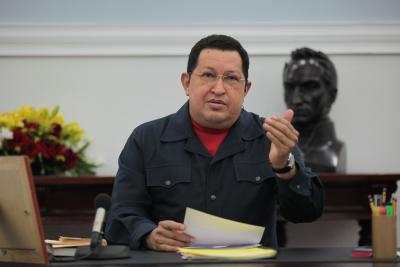 Venezuelan President Hugo Chavez in a meeting with government ministers yesterday (agencies)
