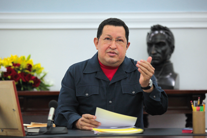 Venezuelan President Hugo Chavez in Council of Ministers meeting last Thursday 8 November (prensa Miraflores)