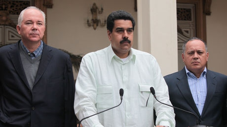 Vice-president Nicolas Maduro (center), together with Energy Minister Rafael Ramirez (left) and National Assembly president Diosdado Cabello (right) (agencies).
