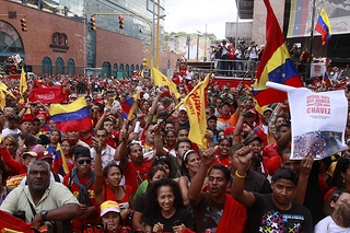 People outside the national assembly on 5 January (Telesur)
