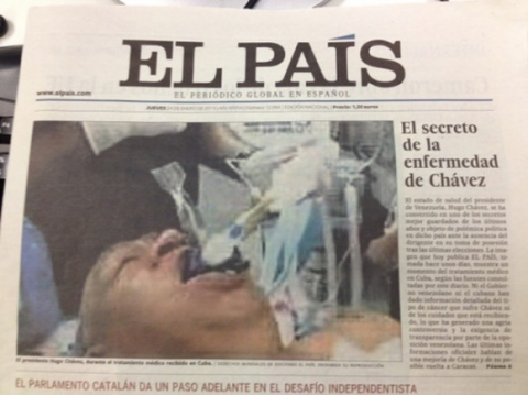 The front page of Thursday 24 January's print edition of El País (El País/HoV)