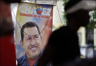 A Chavez electoral poster observed in Caracas on new years eve (AP)