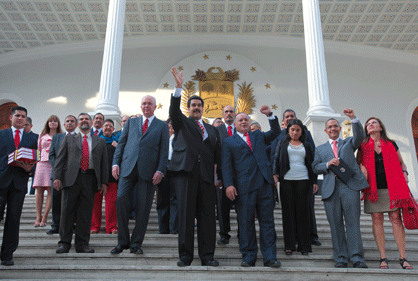 Venezuelan vice-president Nicolas Maduro and ministers of the national executive outside the national assembly yesterday (Prensa Miraflores / AVN)