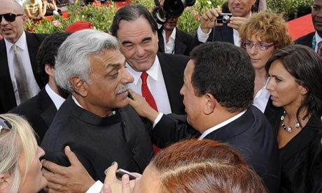 Chávez, director Oliver Stone and Tariq Ali at the Venice film festival in 2009. (Damien Meyer/AFP/Getty Images)