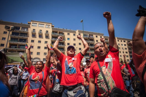 Pro-Chavez youth gathered in central Caracas to show their support for the Venezuelan president during his recovery (Iván González)
