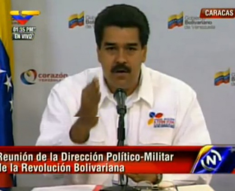 Vice-president Nicolas Maduro addressing the public today (VTV)