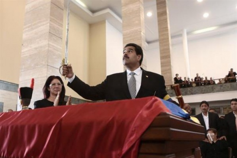 Nicolas Maduro (right), at Chavez's funeral on 8 March (AFP)