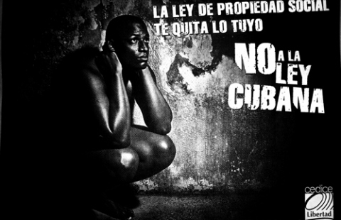 """The social property law will take away what's yours - No to the Cuban law"" said this 2009 publicity, which uses the image of a naked person to incite feelings of vulnerability. (CEDICE - a Venezuelan ""thought for freedom"" organisation)"