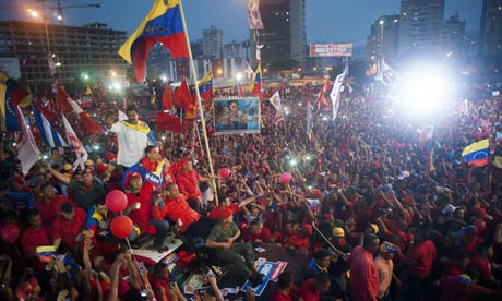 Supporters cheer Nicolás Maduro as he brings his election campaign to a close at a rally in Caracas. (Santi Donaire/ Santi Donaire/Demotix/Corbis)