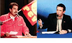 Candidate of the Bolivarian revolution, Nicolas Maduro (left), and his conservative opponent for the Democratic Unity (MUD) colalition, Henrique Capriles (right) (agencies)