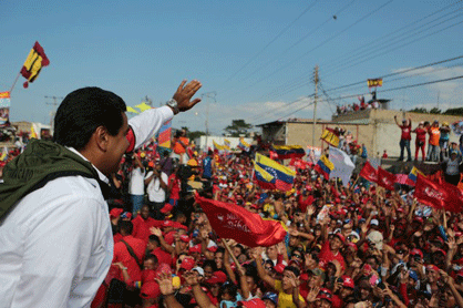 Maduro at a campaign event in Sucre state today (AVN)