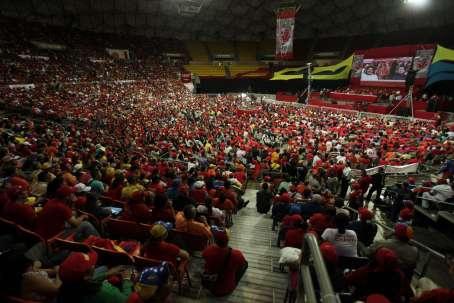 "Venezuelan president Nicolas Maduro (centre) stressed ""unity"" in his speech to party activists (AVN)"