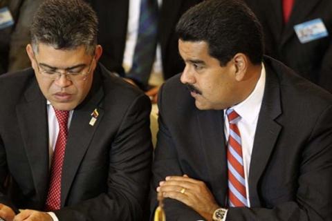 President Nicolas Maduro and Foreign Minister Elias Jaua (EFE)
